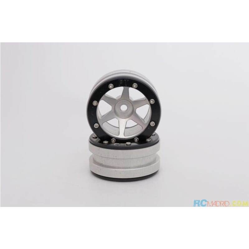 Llanta aluminio Beadlock 1.9 Plata/Negra PT- Slingshot