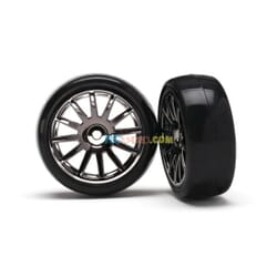 12-Sp Blk Wheels Slick Tires Tires & Wh TRX7573A