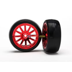 12-Sp Red Wheels Slick Tires Tires & Wh TRX7573X