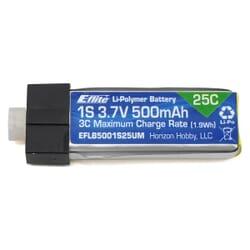 Bateria Lipo E-flite 500mAh 1S 3.7V 25C conector UMX