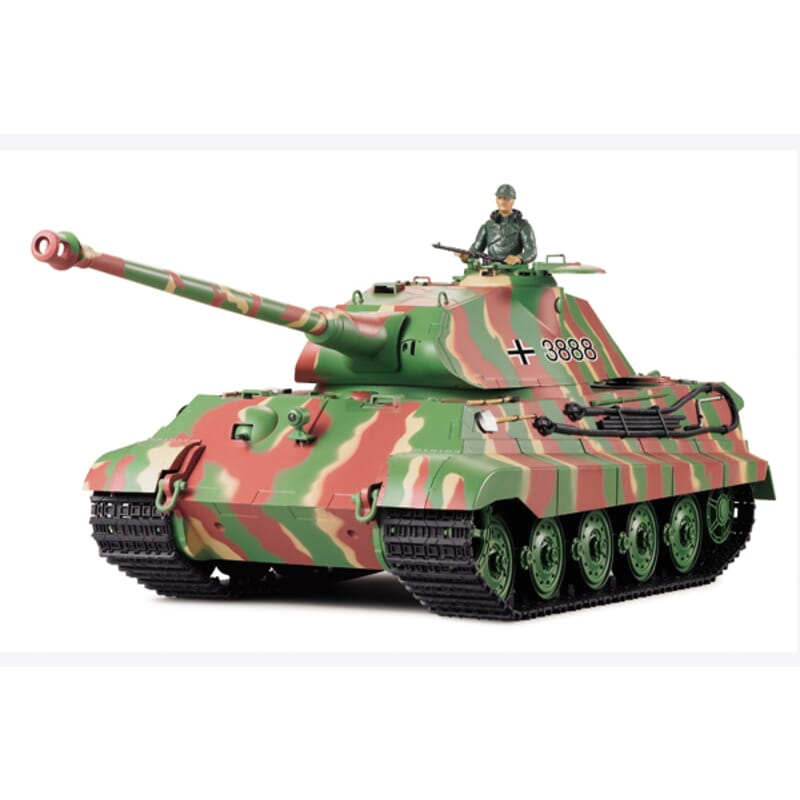Tanque 1/16 King Tiger Porsche con humo y sonido (6mm Shooter)